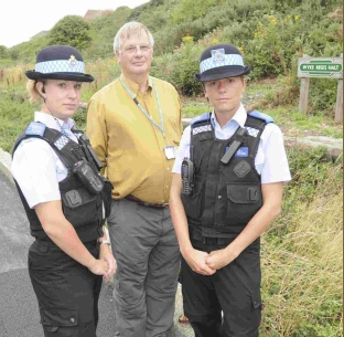 Bernard Franklin with PCSOs Steph Weedon and Lucy Allmond