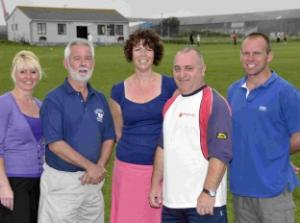Beth Kerney, Geoff Daniels, Alison Griffiths, Grant Neven and Bill Gates at the Portland Red Triangle cricket ground