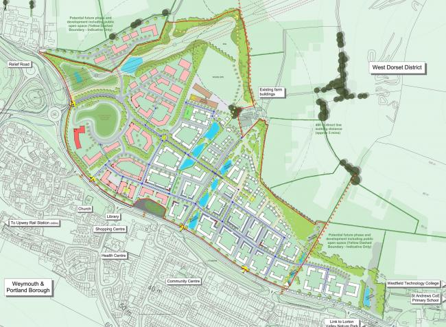 Illustrative masterplan of scheme for 500 new homes at Littlemoor in Weymouth plus a hotel, care home and car showrooms. Over two hectares of land will also be provided for a new primary school. The development will also include significant financial cont