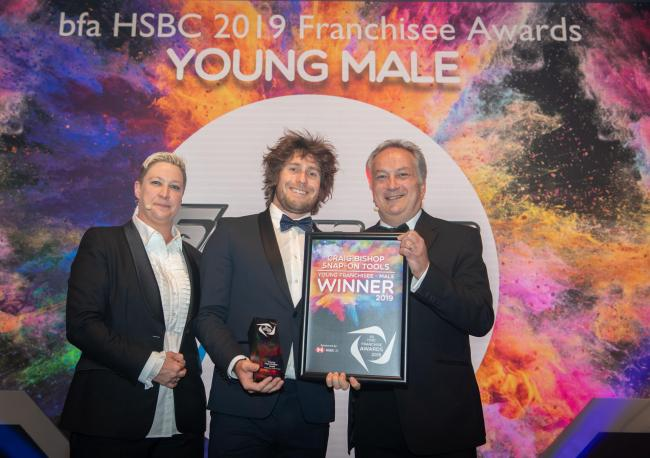 WINNER: Craig Bishop of Snap-on collects his award for Young Male Franchisee of the Year