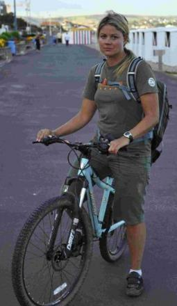 STOPPED: Lucy Horwood who cycles to work on Portland from Preston