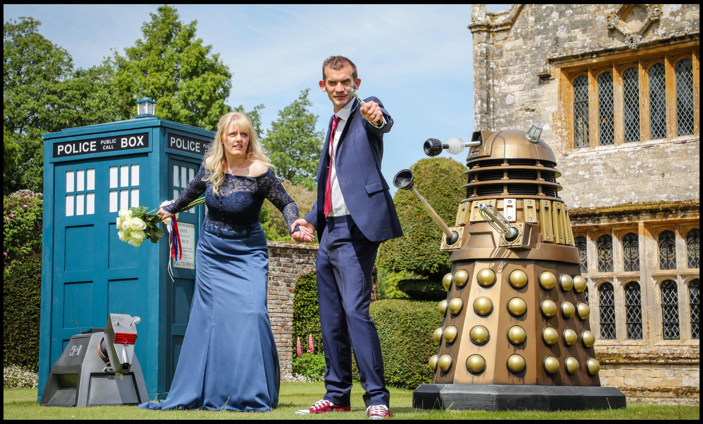 Dr-Who superfans tie the knot in blockbuster-themed wedding at Dorset manor