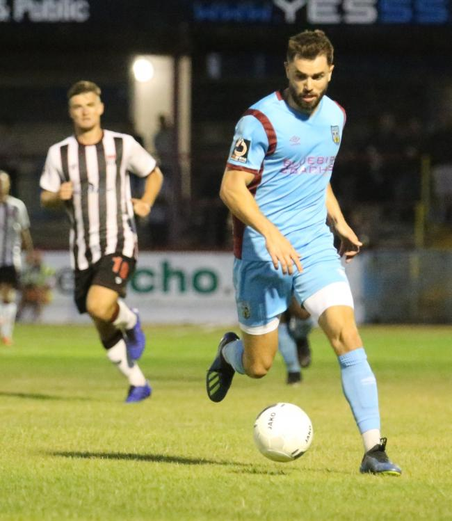 Josh McQuoid twice missed chances against Bath City on Tuesday          Picture: MARK PROBIN