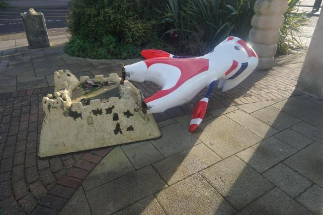 Mandeville was taken in by Weymouth rail station staff for repairs after it was knocked off its stand