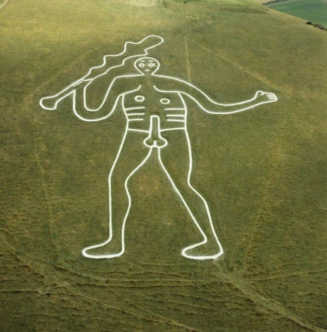 The Romano-British Cerne Giant, thought to be Hercules, carved in chalk in the hillside at Cerne Abbas in Dorset     Picture: National Trust
