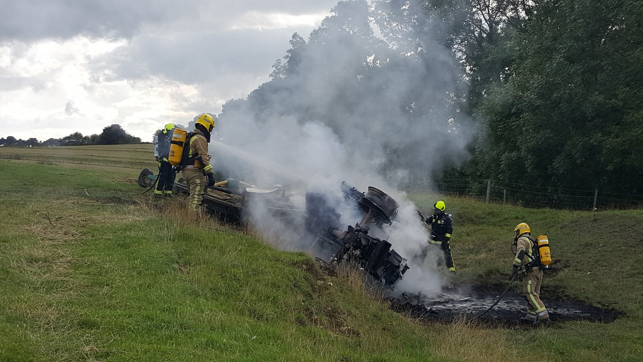 Tractor destroyed by fire in Misterton