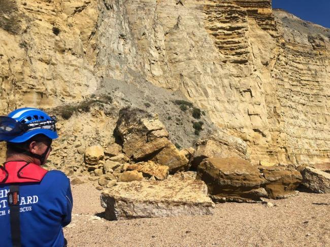 Cliff fall at Freshwater        Picture: WEST BAY COASTGUARD RESCUE TEAM