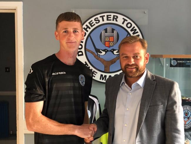 Jack Hoey, left, with Magpies' boss Callum Brooks Picture: DTFC