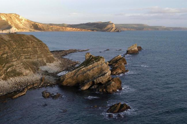 Pic: View of Mupe Rocks and ledge, and the Jurassic Coast..