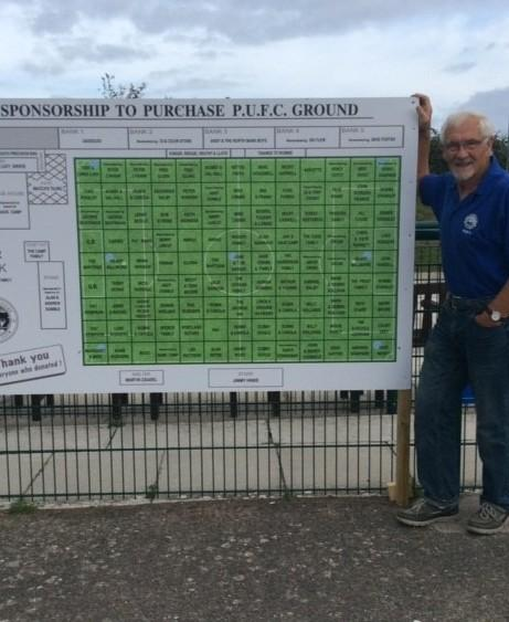 Portland president Dave Camp with the Blues' sponsorship board 		         Picture: PUFC