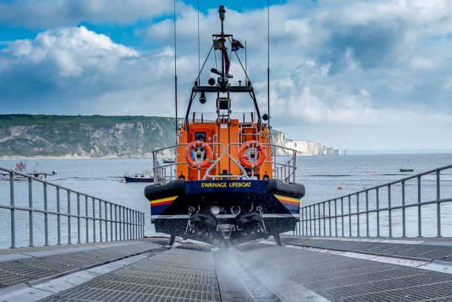 The all-weather lifeboat launching at Swanage. Picture: RNLI/RoydonsPhotography