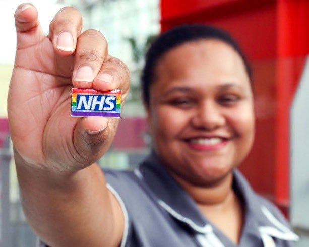 NHS Dorset staff wear rainbow badges to show LGBT+ support