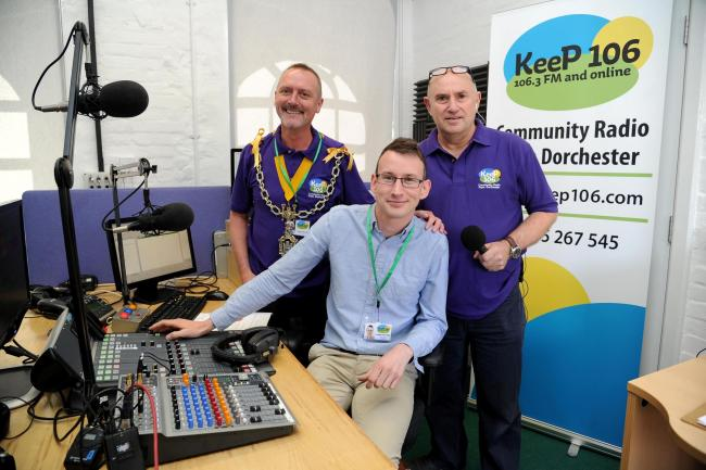 Launch of KeeP 106 radio station, Dorchester, Mayor David Taylor and Rob Mott (director) open the station, 28/07/18, PICTURE: FINNBARR WEBSTER/F19788.