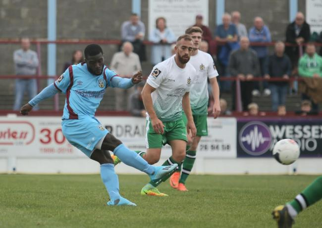 Abdulai Baggie against St Albans in the FA Cup                                             Picture: MARK PROBIN