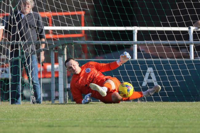 Dorchester goalkeeper Shane Murphy had a busy afternoon at Weston 		       Picture: PHIL STANDFIELD