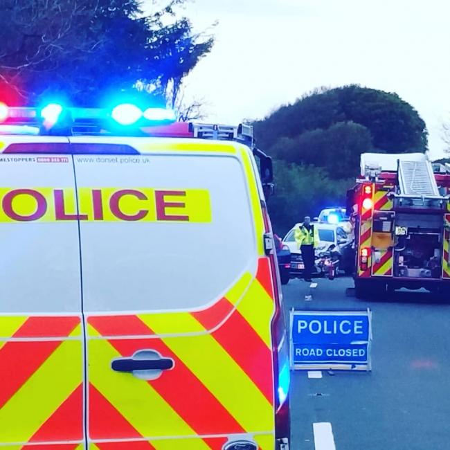 Emergency services at the scene       Picture: North Dorset Police