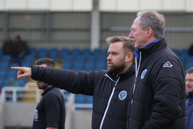 Trevor Senior, right, will step aside from the assistant manager role after his 25th game with current boss Callum Brooks today Picture: PHIL STANDFIELD