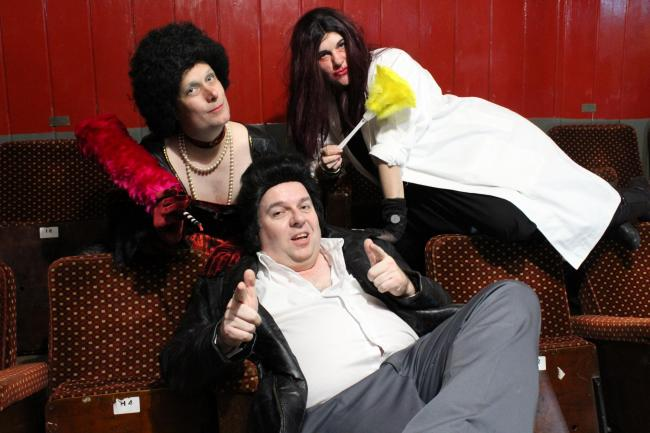 Neil Highley, Nikki Fryer and Stephen Marshall prepare for the Rocky Horror Picture Show screenings at the Royal manor Theatre on Portland