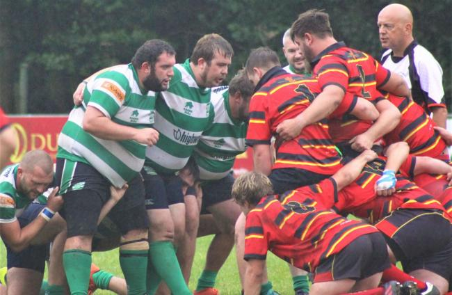 Joe Underhill, centre and Chris Elliott, left of the front row, both scored tries                      Picture: LUCY CHAMPION