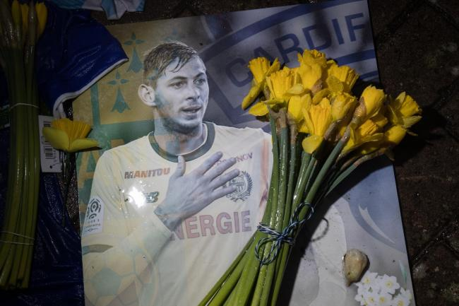 File photo dated 08/02/19 of a tribute at Cardiff City Stadium for Emiliano Sala. Two people have been arrested by detectives investigating how an image purporting to show the post-mortem examination of tragic footballer Emiliano Sala was posted on Twitte
