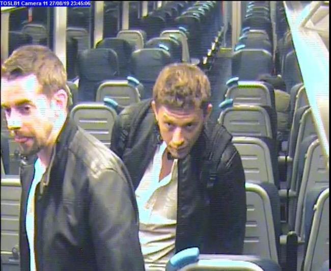 Officers from BTP have released CCTV of two men they want to speak to after a man was battered with a wine bottle on a train between Poole and Wareham