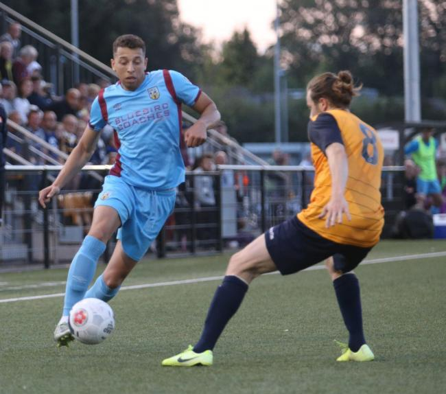 Calvin Brooks, left, played his 250th game for Weymouth on Saturday  Picture: MARK PROBIN