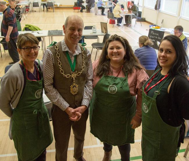 Dorchester Repair Café on Sunday 24th November 2019 L to R Lisa Willis, Cllr. Richard Biggs, Emma Teasdale and Katy Jones