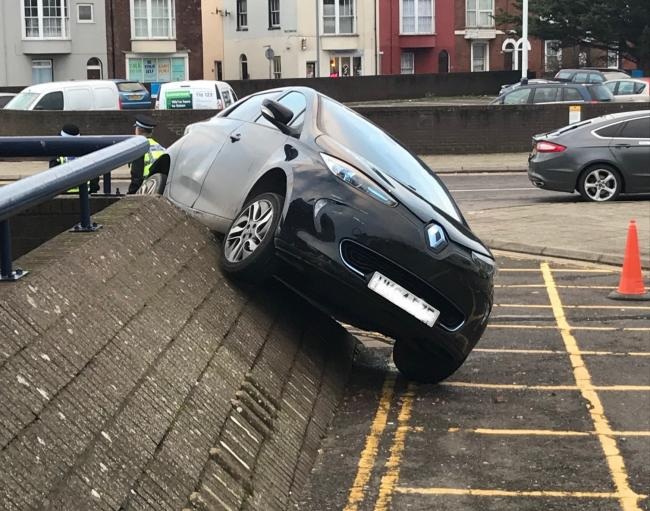 Part of Weymouth train station was cordoned off after a car crashed into one of the ramps. Picture: Alan Lock