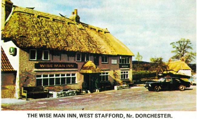 Colour postcard of the Wise Man Inn at West Stafford