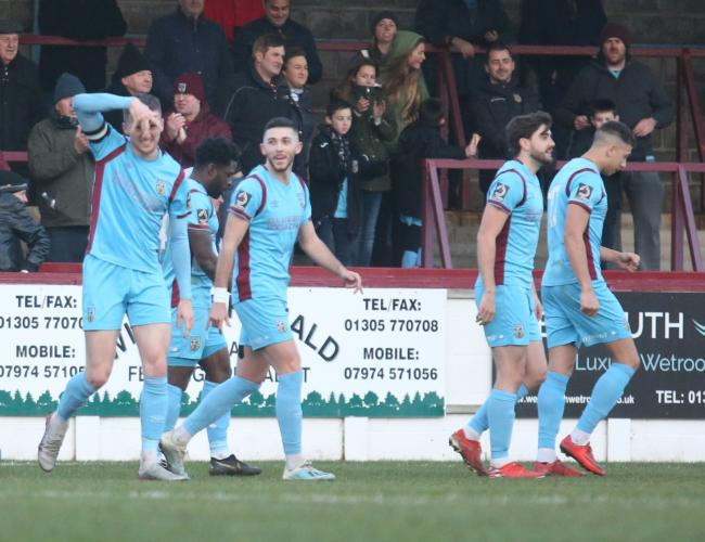 Jake McCarthy celebrates his goal     Picture: MARK PROBIN
