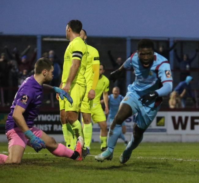 Abdulai Baggie scores a 95th-minute winner against Dorking Picture: MARK PROBIN