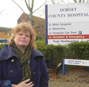 Ros Kayes outside Dorset County Hospital