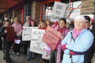 The protest outside Dorset County Hospital