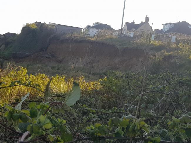 Landslip near Old Castle Road, Weymouth Picture: Dorset Council.
