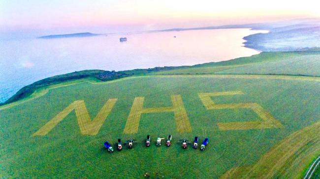 NHS tribute in field near Ringstead   Picture: J.F Cobb & Sons Ltd