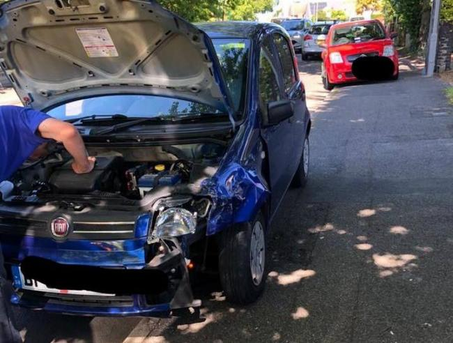 An elderly driver crashed into a parked car in Lake Drive, Hamworthy. Picture: Dorset Police No Excuse Team