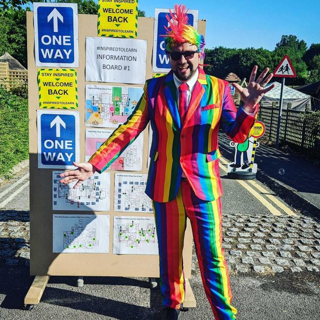 Gary Spracklen, headteacher at The Prince of Wales School in Dorcheser, dressed up to welcome more of his pupils back to school