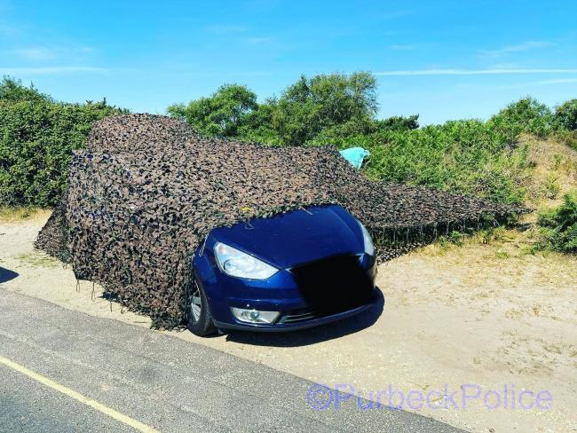An attempt to disguise a car at Studland. Picture: Purbeck Police