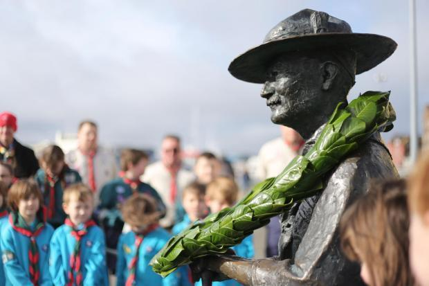 The statue of scout founder Robert Baden-Powell
