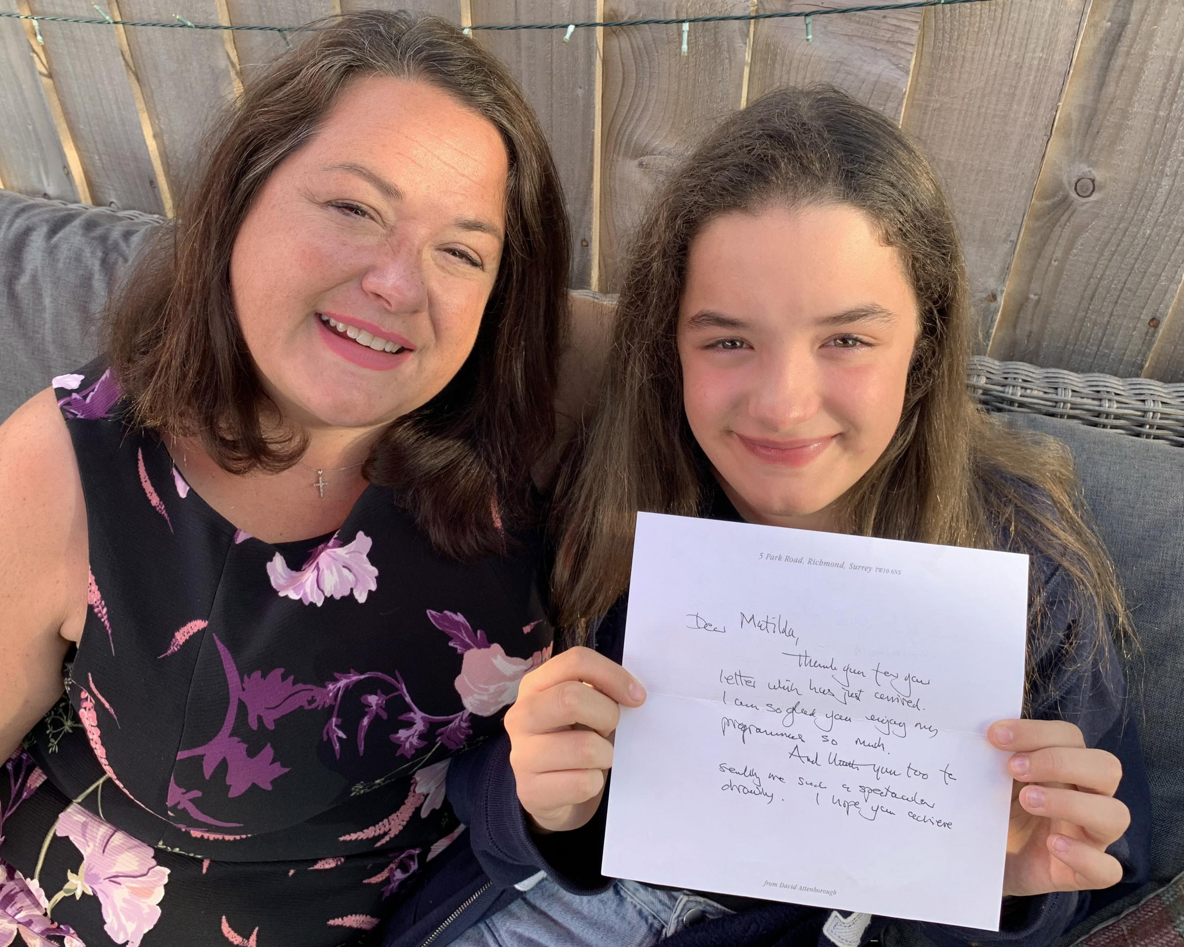 Teenager's thrill at letter from Sir David Attenborough
