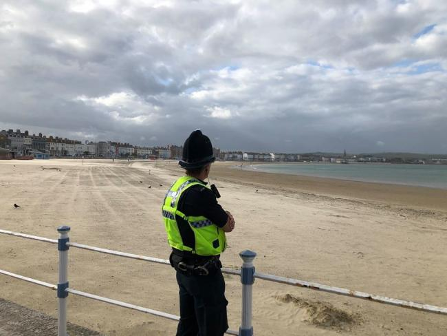 Officers completed a foot patrol on Weymouth beach. Picture: Weymouth & Portland Police