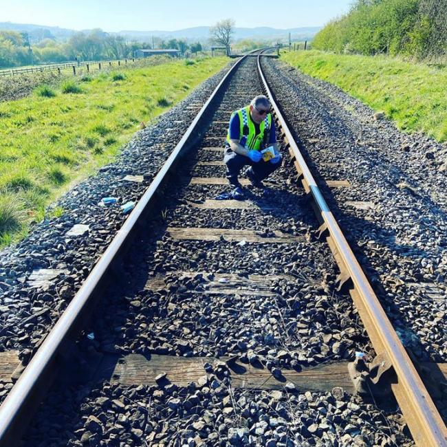 Purbeck Police were called out to deal with belongings discarded on a railway track. Picture: Purbeck Police