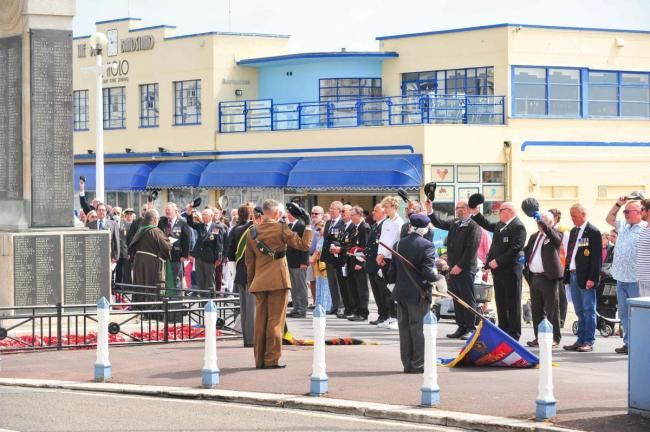 Remembrance service in Weymouth took place earlier this year - but VE and VJ Day celebrations have been called off Picture: MARK CONNELL