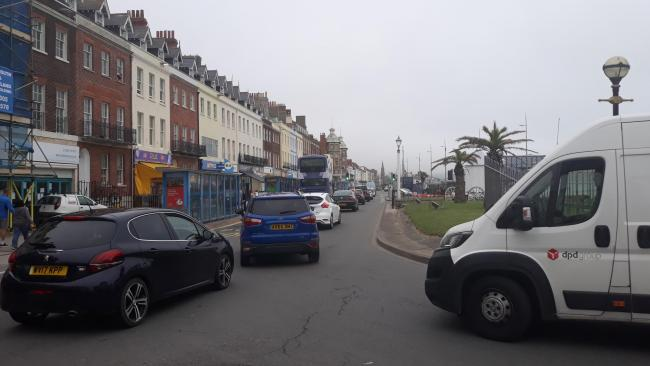 Heavy traffic on Weymouth Esplanade on the first day of the newly-pedestrianised harbour Picture: Ellie Maslin