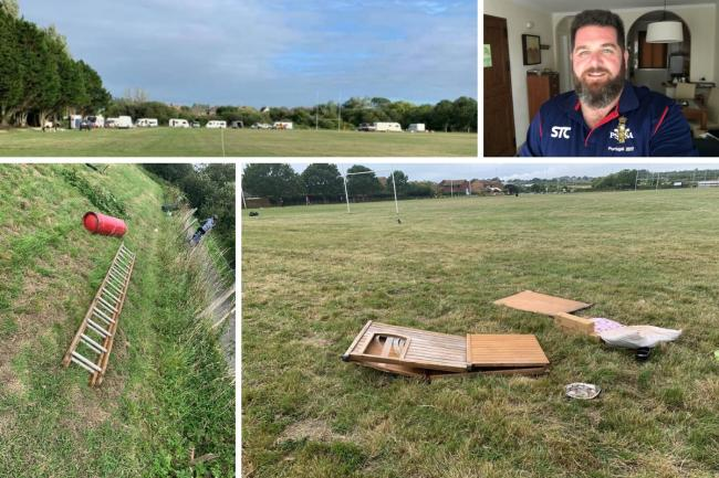 Waste left by travellers at Weymouth and Portland Rugby Club (top left) by travellers, club secretary Jon Monaghan top right