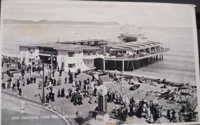 1950s postcard of band enclosure from the west at Weymouth