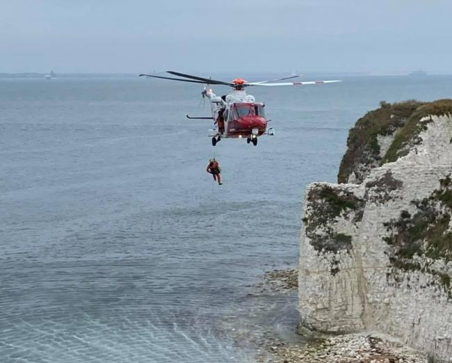 Rescue of woman at Old Harry Rocks - Coastguard helicopter pictured  Picture: Swanage Fire Station/DWFRS