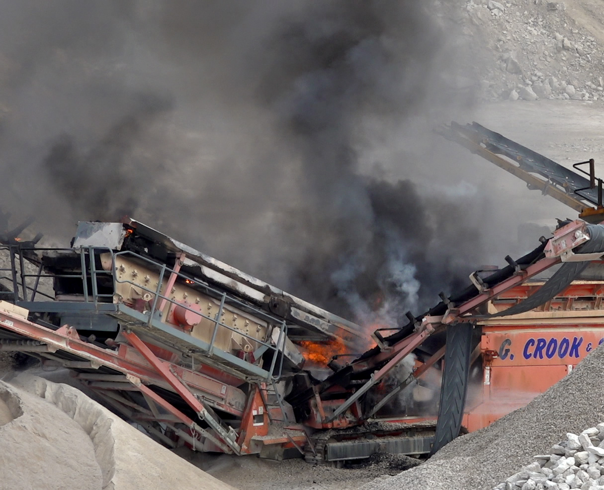Machinery up in flames in quarry as 'thick black smoke' seen for miles