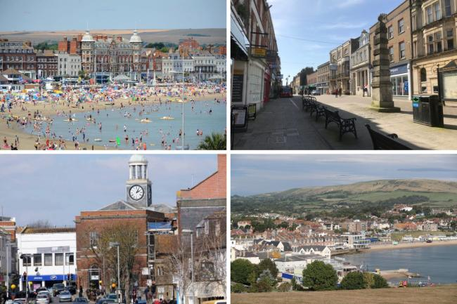 Weymouth (top left), Dorchester (top right), Bridport (bottom left) and Swanage (bottom right) all have varying levels of deprived areas according to Government research