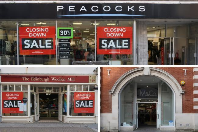 Peacocks (top), Edinburgh Woollen Mill (left), M&CO (right) are all closing down in Dorchester town centre. Pictures: Michael Taylor